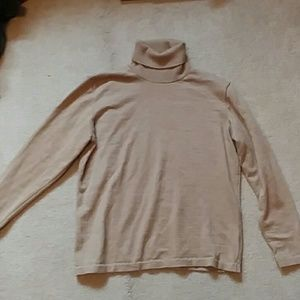 Nordstrom Camel Turtleneck Extra Fine Merino Wool